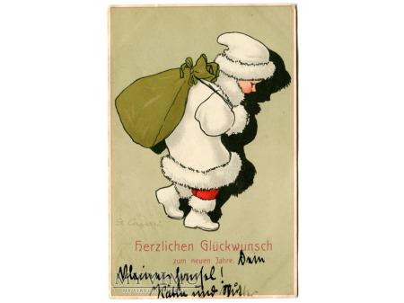 Duże zdjęcie Gertrud Caspari Nowy Rok NEW YEAR postcard