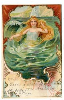 Syrena północy Topielica vintage Mermaid postcard