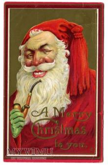 Święty Mikołaj z fajką Wesołych Świąt c. 1910
