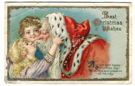 Daj Mikołajowi buziaka litho pocztówka