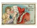 c. 1910 Daj Mikołajowi buziaka litho pocztówka