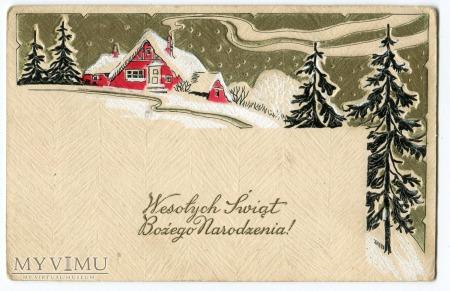 Duże zdjęcie 1931 Wesołych Świąt pocztówka wytłaczana