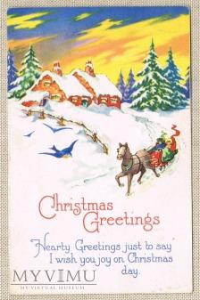 Wesołych Świąt sanna kulig sanie ptaszek zima