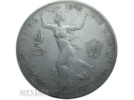 5 koron Austriackich 1908 rok.