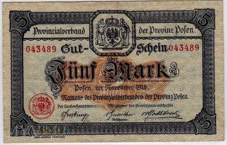 11.1918 - 5 Mark - Provinz Posen