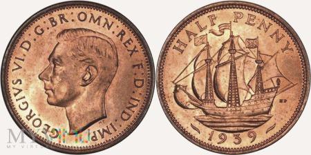Wielka Brytania, half penny 1939