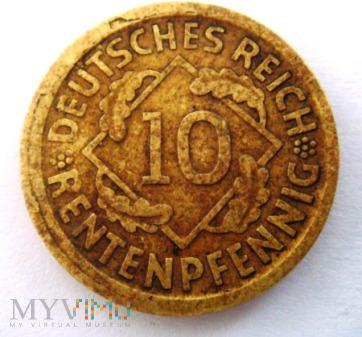 10 Rentenpfennig 1924 D ,Republika Weimarska
