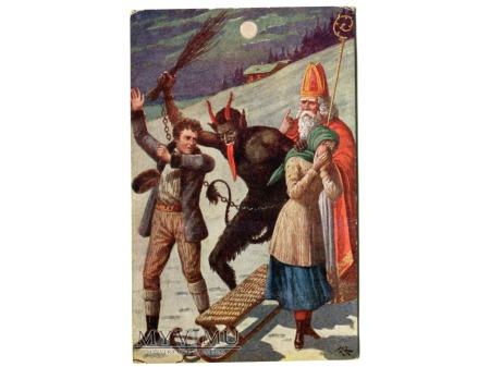 Święty Mikołaj i Diabeł KRAMPUS pocztówka