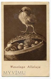 Duże zdjęcie c. 1949 pisanki WESOŁYCH ŚWIĄT Wielkanoc