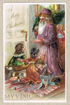 Duże zdjęcie Pocztówka Santa Claus około 1900 roku