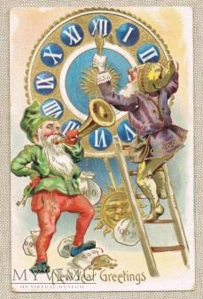 1908 Nowy Rok zegar i gnomy