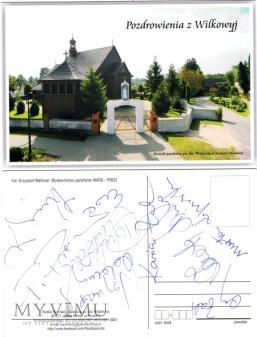 Duże zdjęcie Pocztówka z Wilkowyj z autografami aktorów.