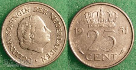 Holandia, 1951, 25 centów
