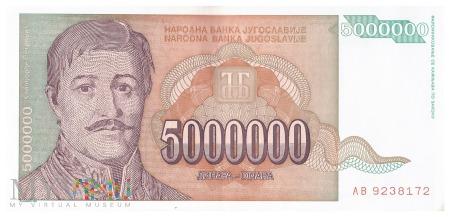 Jugosławia - 5 000 000 dinarów (1993)