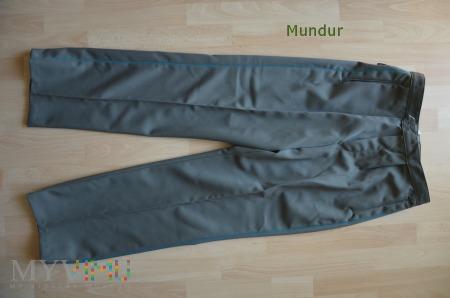 NVA spodnie z niebieską lamówką