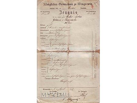 Świadectwo Królewskie Gimnazjum w Wągrowcu 1892