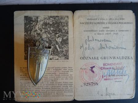 Duże zdjęcie Legitymacja nadanie + odznaka OG 1 lipca 1946 r.