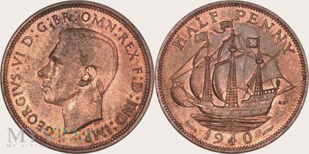Wielka Brytania, half penny 1940