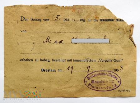 Dowód wpłaty na Mariannhiller Mission Breslau 1933