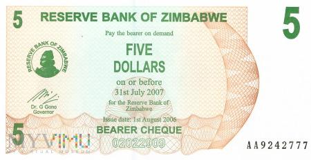 Zimbabwe - 5 dolarów (2006)