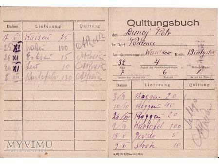 Książka dostaw-Podleńce ok.1943.