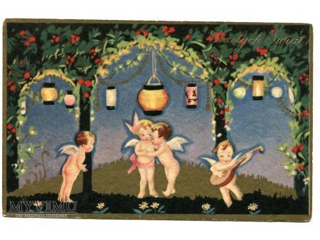 Wesołych Świąt ART DECO Aniołki i Mandolina