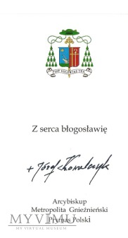 Autograf od Ks .Abp. Józefa Kowalczyka - Prymasa
