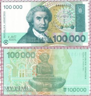 100000 dinarów- Chorwacja