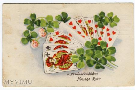 Szczęśliwe karty do gry i koniczynki Nowy Rok
