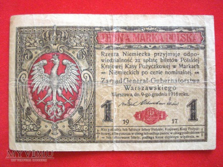 Duże zdjęcie 1 marka polska 1916 rok