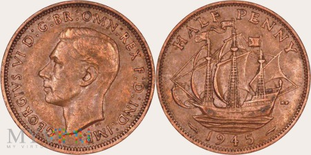 Wielka Brytania, half penny 1945