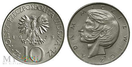 10 złotych, 1975, Adam Mickiewicz, odmiana B