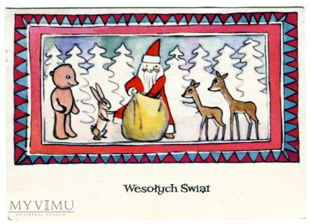 Duże zdjęcie 1974 Święty Mikołaj niedźwiadek Prezenty Święta