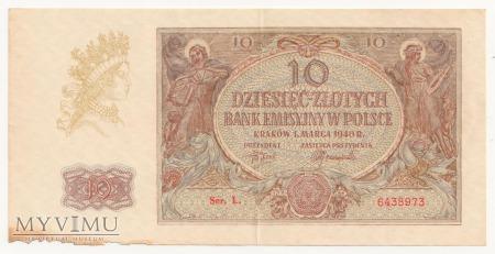 10 złotych 1 marca 1940 rok Ser. L.
