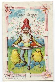c. 1910 Wielkanoc Krasnal jajo wielkanocne USA