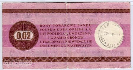 Bon Towarowy PeKaO - B25b - 2 Centy - 1979
