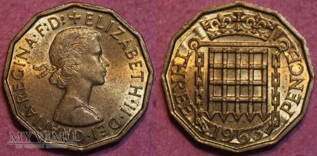 Wielka Brytania, THREE PENCE 1963