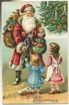 1910 Święty Mikołaj z dziećmi .