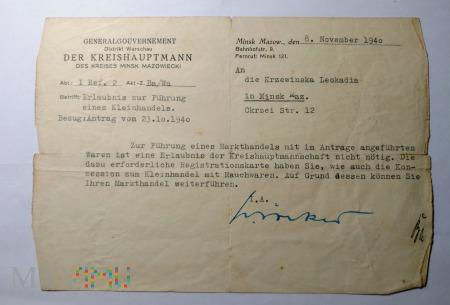 Powiadomienie 1940 rok