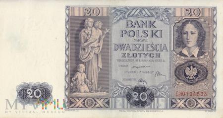 Duże zdjęcie Banknot 20 złotych 1936 rok, Warszawa