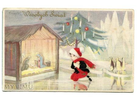 Duże zdjęcie Wesołych Świąt Pingwiny Sofia Chiostri Art Deco