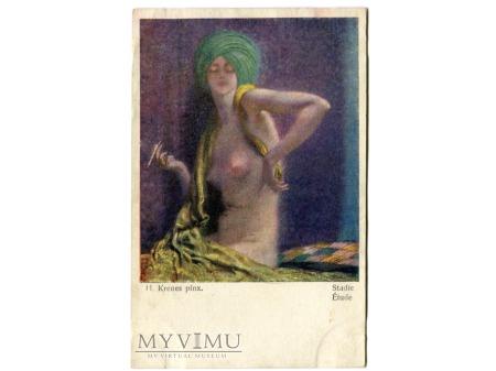 Heinrich Krenes Kobieta AKT papieros nude postcard