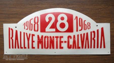 "Tablica rajdowa ""RALLYE MONTE-CALVARIA 1968 rok"""