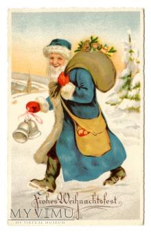 Święta Święty Mikołaj Blue Robe Santa Claus