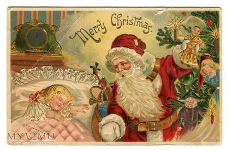 c. 1910 Święty Mikołaj z zabawkami USA