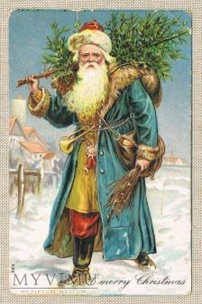 Boże Narodzenie Mikołaj w niebieskim kożuchu