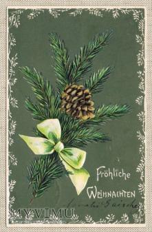 1906 gałązka igliwia szyszka i kokarda
