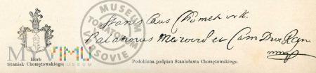 Podpis i herb Stanisława Chomętowskiego