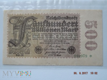 FunfHundert Millionen Mark - 1923r.