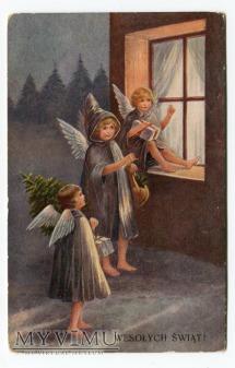 Wesołych Świąt Aniołki ANIOŁ angels postcard